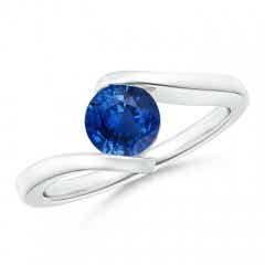 Bar-Set Solitaire Round Sapphire Bypass Ring