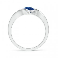 Toggle Bar-Set Solitaire Round Sapphire Bypass Ring