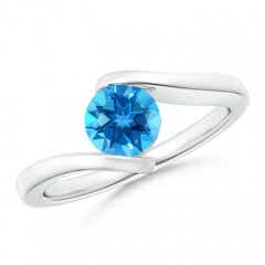 Bar-Set Solitaire Round Swiss Blue Topaz Bypass Ring