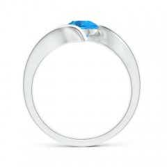 Toggle Bar-Set Solitaire Round Swiss Blue Topaz Bypass Ring