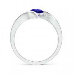 Toggle Bar-Set Solitaire Round Tanzanite Bypass Ring