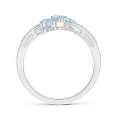 Toggle Oval Aquamarine Three Stone Bypass Ring with Diamonds