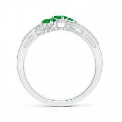 Toggle Oval Emerald Three Stone Bypass Ring with Diamonds