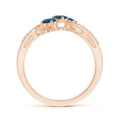 Toggle Oval London Blue Topaz Three Stone Bypass Ring with Diamonds
