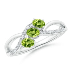 Oval Peridot Three Stone Bypass Ring with Diamonds