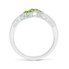 Toggle Oval Peridot Three Stone Bypass Ring with Diamonds