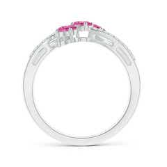 Toggle Oval Pink Sapphire Three Stone Bypass Ring with Diamonds