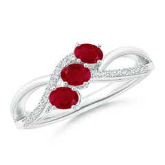 Oval Ruby Three Stone Bypass Ring with Diamonds