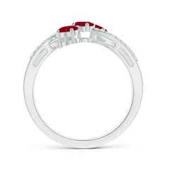 Toggle Oval Ruby Three Stone Bypass Ring with Diamonds