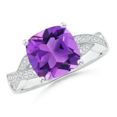 Solitaire Cushion Amethyst Criss Cross Ring with Diamonds