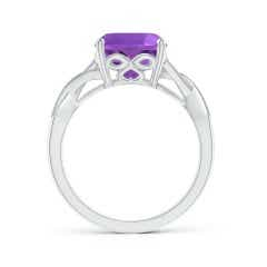 Toggle Solitaire Cushion Amethyst Criss Cross Ring with Diamonds