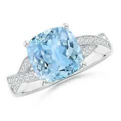Solitaire Cushion Aquamarine Criss Cross Ring with Diamonds