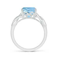 Toggle Solitaire Cushion Aquamarine Criss Cross Ring with Diamonds