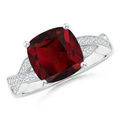 Solitaire Cushion Garnet Criss Cross Ring with Diamonds