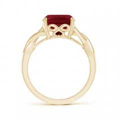 Toggle Solitaire Cushion Garnet Criss Cross Ring with Diamonds
