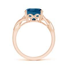 Toggle Cushion London Blue Topaz Criss Cross Ring with Diamonds