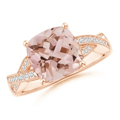 Angara Solitaire Cushion Morganite Reverse Tapered Shank Ring
