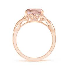 Toggle Solitaire Cushion Morganite Criss Cross Ring with Diamonds