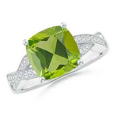 Solitaire Cushion Peridot Criss Cross Ring with Diamonds