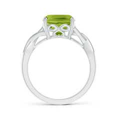 Toggle Solitaire Cushion Peridot Criss Cross Ring with Diamonds