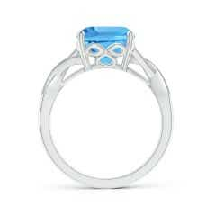 Toggle Solitaire Cushion Swiss Blue Topaz Criss Cross Ring with Diamonds
