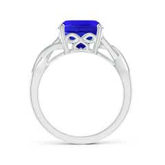 Toggle Solitaire Cushion Tanzanite Criss Cross Ring with Diamonds