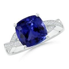 Tanzanite Diamond Criss-Cross Ring (GIA Certified Tanzanite)