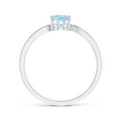 Toggle Solitaire Oval Aquamarine Bypass Ring with Pave Diamonds