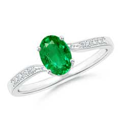 Solitaire Oval Emerald Bypass Ring with Pave Diamonds