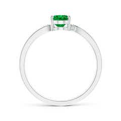 Toggle Solitaire Oval Emerald Bypass Ring with Pave Diamonds