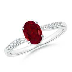 Solitaire Oval Garnet Bypass Ring with Pave Diamond Accents
