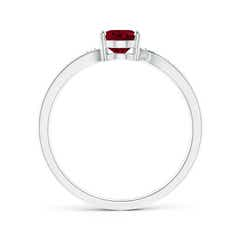 Toggle Solitaire Oval Garnet Bypass Ring with Pave Diamonds