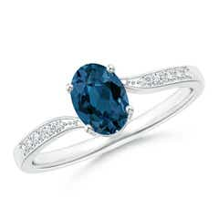 Solitaire London Blue Topaz Bypass Ring with Pave Diamonds