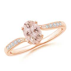 Solitaire Oval Morganite Bypass Ring with Pave Diamonds
