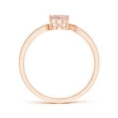 Toggle Solitaire Oval Morganite Bypass Ring with Pave Diamonds