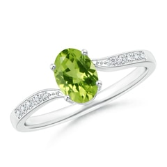 Solitaire Oval Peridot Bypass Ring with Pave Diamonds