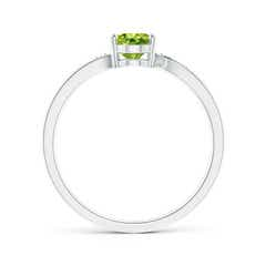 Toggle Solitaire Oval Peridot Bypass Ring with Pave Diamonds