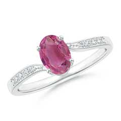 Solitaire Oval Pink Tourmaline Bypass Ring with Pave Diamonds