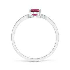 Toggle Solitaire Oval Pink Tourmaline Bypass Ring with Pave Diamonds