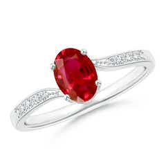 Solitaire Oval Ruby Bypass Ring with Pave Diamonds