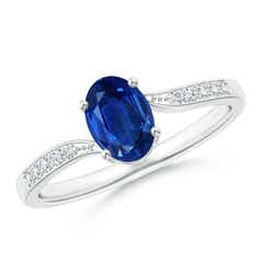 Solitaire Oval Blue Sapphire Bypass Ring with Pave Diamonds