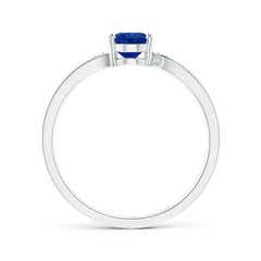 Toggle Solitaire Oval Blue Sapphire Bypass Ring with Pave Diamonds