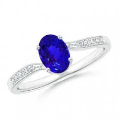 Solitaire Oval Tanzanite Bypass Ring with Pave Diamonds