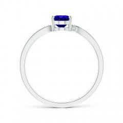 Toggle Solitaire Oval Tanzanite Bypass Ring with Pave Diamonds