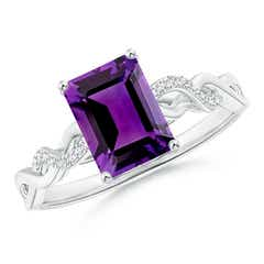 Emerald-Cut Solitaire Amethyst Infinity Twist Ring
