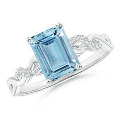 Emerald-Cut Solitaire Aquamarine Infinity Twist Ring