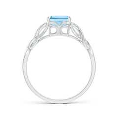 Toggle Emerald-Cut Solitaire Aquamarine Infinity Twist Ring