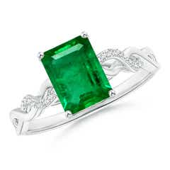 Solitaire Emerald Cut Emerald and Diamond Infinity Twist Ring
