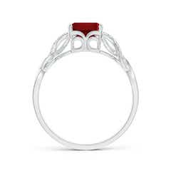 Toggle Emerald-Cut Solitaire Garnet Infinity Twist Ring