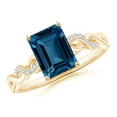 Emerald-Cut Solitaire London Blue Topaz Infinity Twist Ring